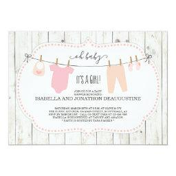 Girl's Baby Shower Invitation | Rustic Clothesline