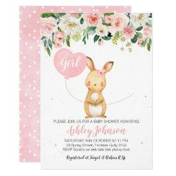 Girls Floral Bunny Baby Shower Invitation