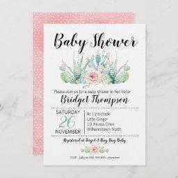 Girls Floral Cactus Baby Shower Invitation