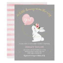 Girls Grey Pink Bunny Baby Shower