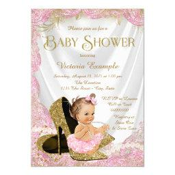 Girls High Heel Shoes Pearls Baby Shower