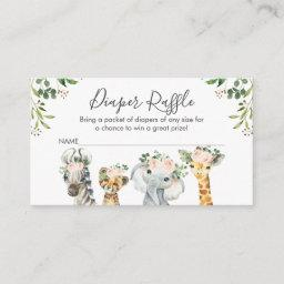 Girls Safari Animals Diaper Raffle Invitations Insert