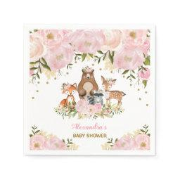 Girly Woodland Animals Pink Gold Peonies Forest Napkin