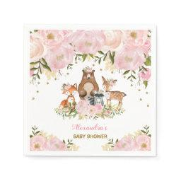 Girly Woodland Animals Pink Gold Peonies Forest Napkins