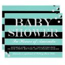 Glam Baby Teal Blue & Silver Sprinkle Shower Party Invitation