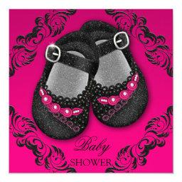 Glam Glitter Baby Shoes Hot Pink Black