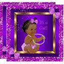 Glitter Baby Shower Girl Purple Pink Ethnic Invitations
