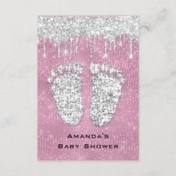 Glitter Drips Rose Gray Baby Girl Shower Feet Pink Invitation