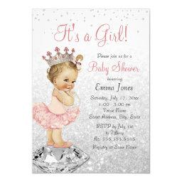 Glitter Pink Silver Princess Baby Shower Invitation