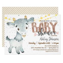 Goat Baby Shower Invitation, Boy, Farm Invitation