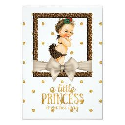 Gold And Leopard Print Girl's Baby Shower Invitation