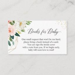 Gold Blush Pink Floral Bring Books For Baby Shower Enclosure Card