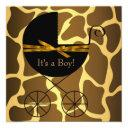 Gold Brown Carriage Boy Giraffe Baby Shower Invitations