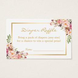 Gold Chic Floral Baby Shower Diaper Raffle Ticket