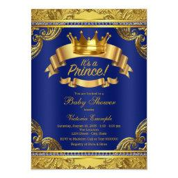 Gold Crown Royal Blue Fancy Prince Baby Shower Invitation