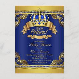 Gold Crown Royal Blue Prince Boy Baby Shower Invitation