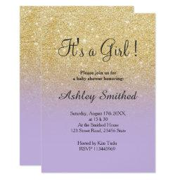 Gold faux glitter lavender ombre girl baby shower