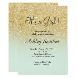 Gold faux glitter mint ombre girl baby shower