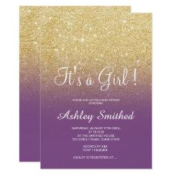 Gold Faux Glitter Purple Ombre Girl Baby Shower Invitation