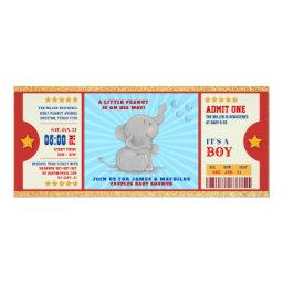 Gold Glitter Elephant Ticket Couples Baby Shower Invitation