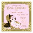 Gold Glitter Shoe Pink And Gold Baby Shower Invitations
