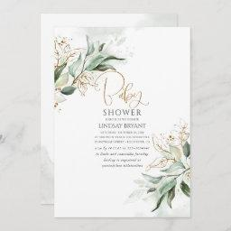 Gold Leaves Eucalyptus Greenery Cute Baby Shower Invitation