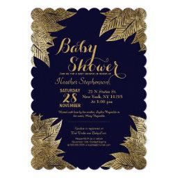 Gold Leaves on Navy Blue Baby Shower