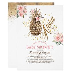 Gold Pineapple Pink Floral Beach Baby Shower Invitation