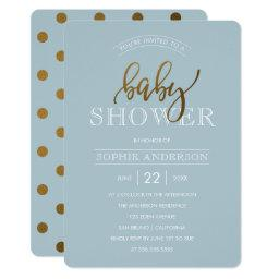 Gold Polka Dots on Pastel Blue | Baby Shower