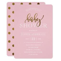 Gold Polka Dots on Pastel Pink | Baby Shower