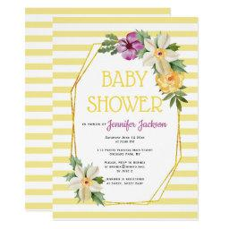 Gold polygon and flowers floral baby yellow shower