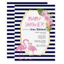 Gold Polygon, Flamingos Navy Blue Baby Shower Invitation
