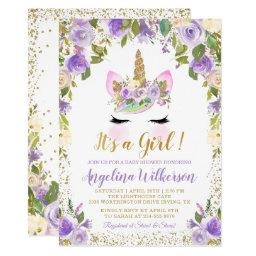 Gold Purple Floral Unicorn Baby Shower