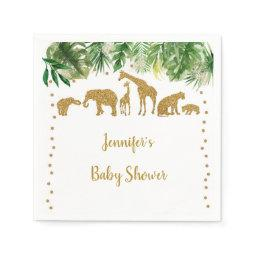 Gold Safari Animal Baby Shower Napkin