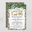 Gold Safari Leopard Skin Baby Shower Invitation