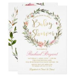 Gold Script Greenery Floral Wreath Baby Shower Invitations