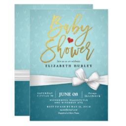 Gold Script White Ribbon Turquoise Baby Shower