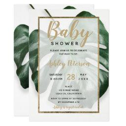 Gold Tropical Green Monstera Leaf Baby Shower Invitation