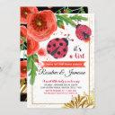 Golden Red Ladybug Watercolour Couples Baby Shower Invitation