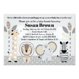 Gray Jungle Safari Animals Baby Shower Invitation