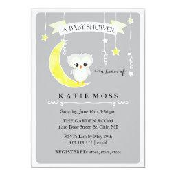 Gray Little Owl | Baby Shower Invitations
