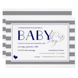 Gray Stripe Baby Boy Shower and Navy Blue
