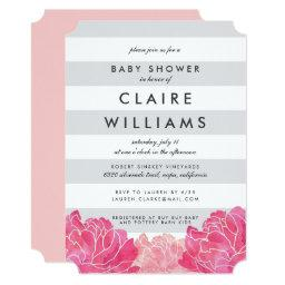 Gray Stripe & Pink Peony Baby Shower