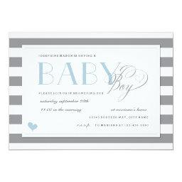 Gray & White Stripe Baby Boy Shower Blue Accents