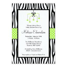 Green and Black Zebra Heart Mobile Baby Shower