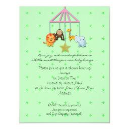 Green Baby Animal Mobile Baby Shower