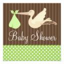 Green Brown Stork Dots Gender Neutral Baby Shower Invitation