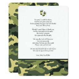 Green Camo baby shower thank you note with poem
