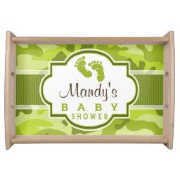 Green Camo, Camouflage Baby Shower Serving Tray
