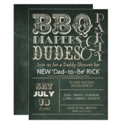 Green Chalkboard BBQ Diapers & DUDES Baby Shower